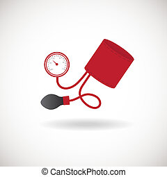 Tonometer Icon. Blood Pressure Checker Icon, Flat design...