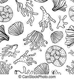 Sea shells and corals seamless background. Black and white...