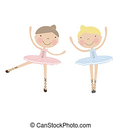 Cute dancing ballerina girls in blue and pink dresses on...