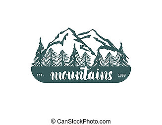 Mountain hand hrawn hogo. Vector design element in vintage...