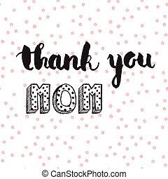 Greeting watercolor card Mothers dayThank you momColorful...