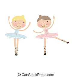 Cute dancing ballerina girls in blue, and pink dresses....
