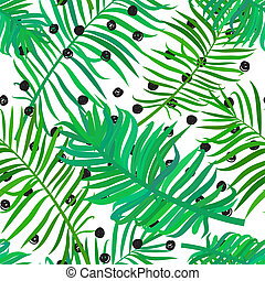 seamless pattern with palm leaves - Summer seamless...