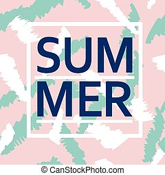 Brush stroke seamless pattern with word Summer Summer,...