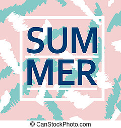 Brush stroke seamless pattern with Summer word - Brush...