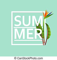Abstract vector poster with text summer on light blue...