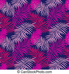 Tropical trendy seamless pattern with exotic palm leaves...