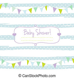 Baby shower card for boy, blue pastel tones, geometrical...