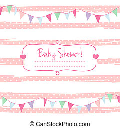 Baby shower card for girl, pink pastel tones, geometrical...