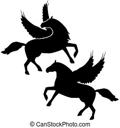 Pegasus - Contour abstract horse with wings. The...