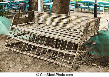 Rickety old bench made of wood in the village in Africa