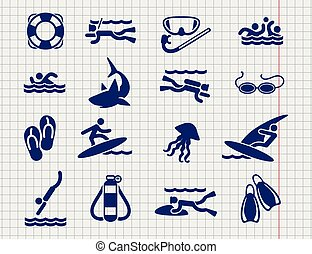 Active sport flat icons on the notebook page vector