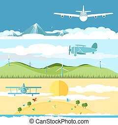 Flat banners with airplanes and landscape - Flat banners set...