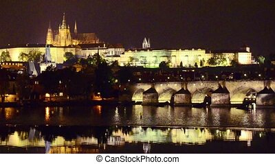 Prague at night - View to the Charles Bridge and Prague...