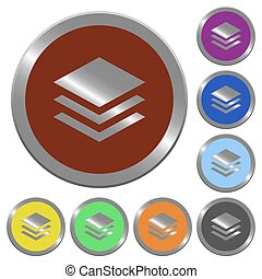 Color layers buttons - Set of color glossy coin-like layers...