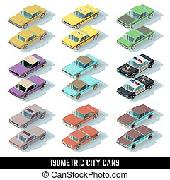 Isometric city cars vector icons in front and rear views