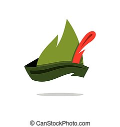 Vector Robin Hood Hat Cartoon Illustration. - Austrian green...