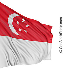 3D Singapore flag with fabric surface texture White...