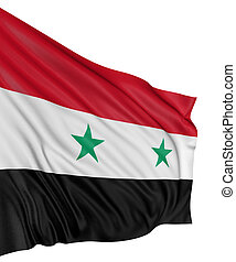 3D syrian flag with fabric surface texture. White...