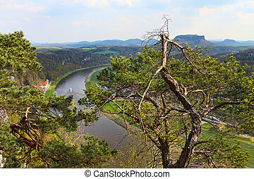 Panoramic view to Saxon Switzerland - View of the River Elbe...