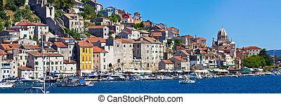Historic UNESCO town of Sibenik panorama, Dalmatia, Croatia