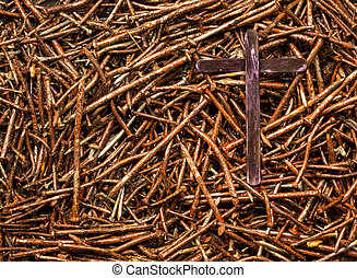 Cross and Used Nails - Dark cross on some used rusted old...