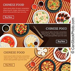 Chinese food web banner.Chinese street food coupon.