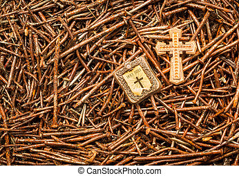 Salvation Nails - Golden cross and Bible on some used rusted...