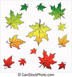 Falling maple leaves. Vector illustration with gradient.