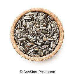 Unpeeled sunflower seeds - Unpeeled sunflower seeds in bowl...