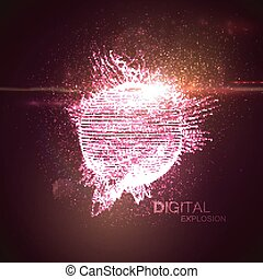 3D illuminated distorted sphere of glowing particles,...