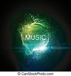 Music neon sign. 3D illuminated distorted sphere of glowing...