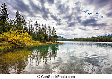 Quiet lake in the nature reserve - Jasper National Park,...