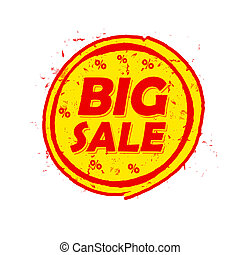 big sale and percentages, round drawn label - big sale and...