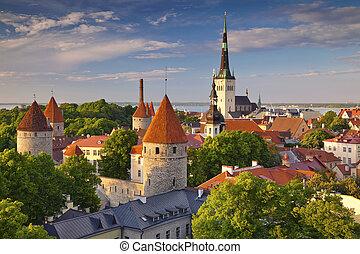 Tallinn - Image of Old Town Tallinn in Estonia during sunset...
