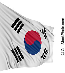 3D South-Korean flag with fabric surface texture. White...