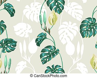 Seamless pattern with monstera leaves. Decorative image of...