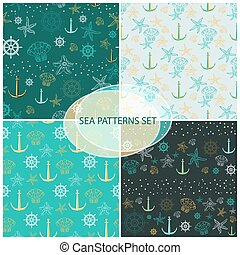 Seamless pattern set with sea themed accessory . - Seamless...