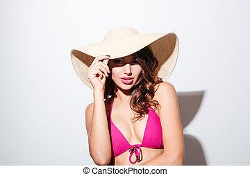 穿, 海灘, 看, 照像機, 相當, 性感, 女孩, 帽子