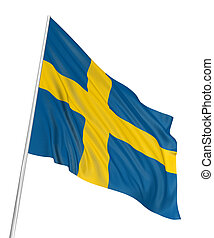 3D Swedish flag with fabric surface texture White background...