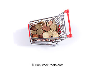 Miniature shopping cart with money, isolated on white...