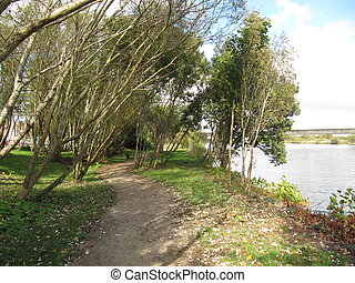 River walkway - A walkway by the River Corrib, Galway,...