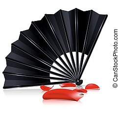 black fan and red petals