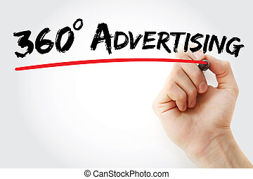 Hand writing 360 degrees Advertising with marker, business...