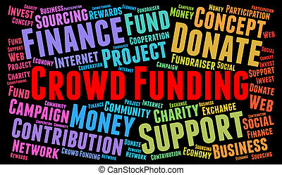 Crowd Funding word cloud concept