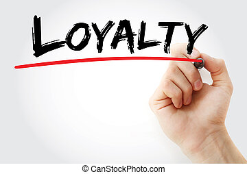 Hand writing Loyalty with marker, business concept