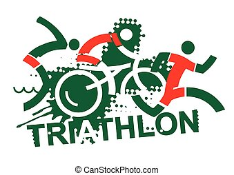 Triathlon race - Three triathlon athletes on the grunge...