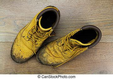 madeira, lamacento, trabalho, botas, chão