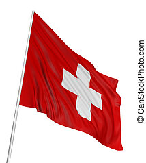 3D Swiss flag with fabric surface texture. White background.