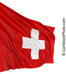 3D Swiss flag with fabric surface texture White background